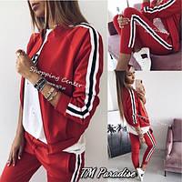 Женский осенний трикотажный спортивный костюм черный красный с полосками 42-44 44-46 молодежный на молнии