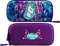 Пенал для девочки жесткий Winner One яркий фиолетовый с единорогом рисунок с обеих сторон