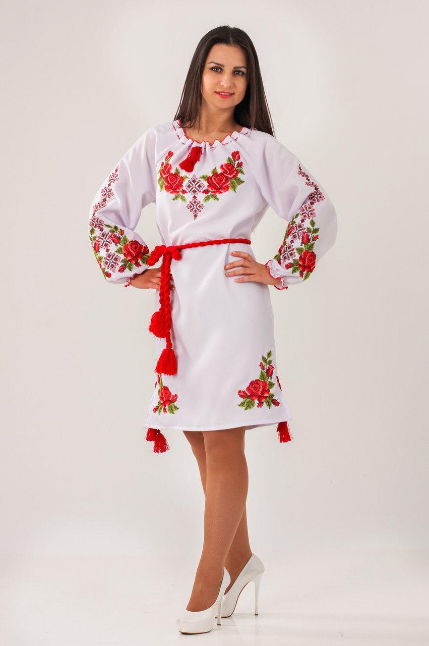 Вышитое платье с розами Зоряна