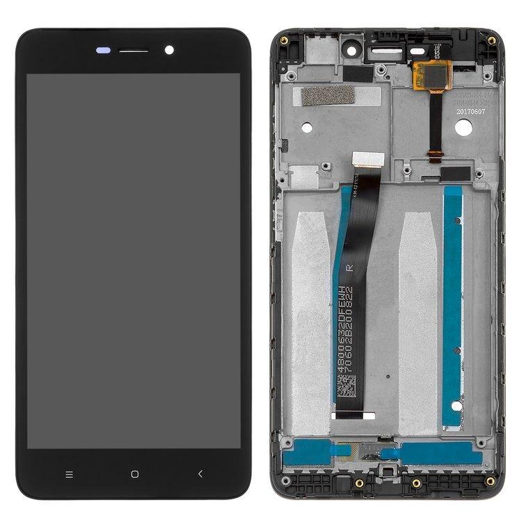 Дисплей (LCD) Xiaomi Redmi 4a з тачскріном і рамкою, чорний, оригінал (PRC)