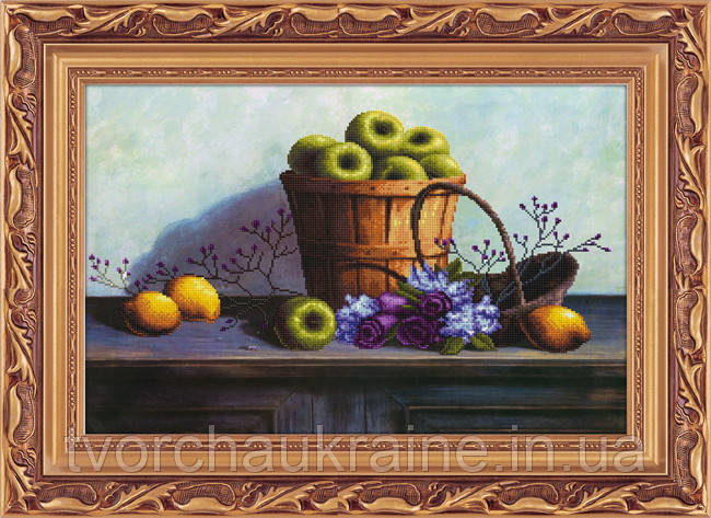 """Набор для рисования камнями 5D (частичная выкладка на холсте) """"Яблоки в корзине"""" LasKo"""