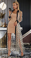 Двойка: платье и сетка в горошек (L, XL, XXL)