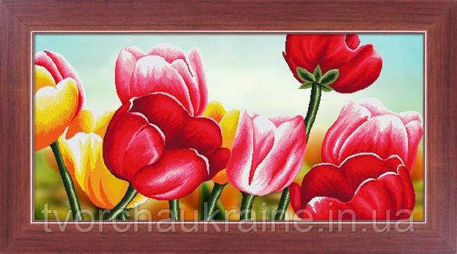 """Набор для рисования камнями 5D (частичная выкладка на холсте) """"Тюльпаны"""" LasKo"""