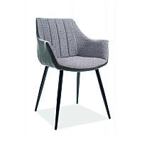 Мягкие стулья серого цвета с тканевой обивкой Signal Bruno на черных металлических ножках Польша