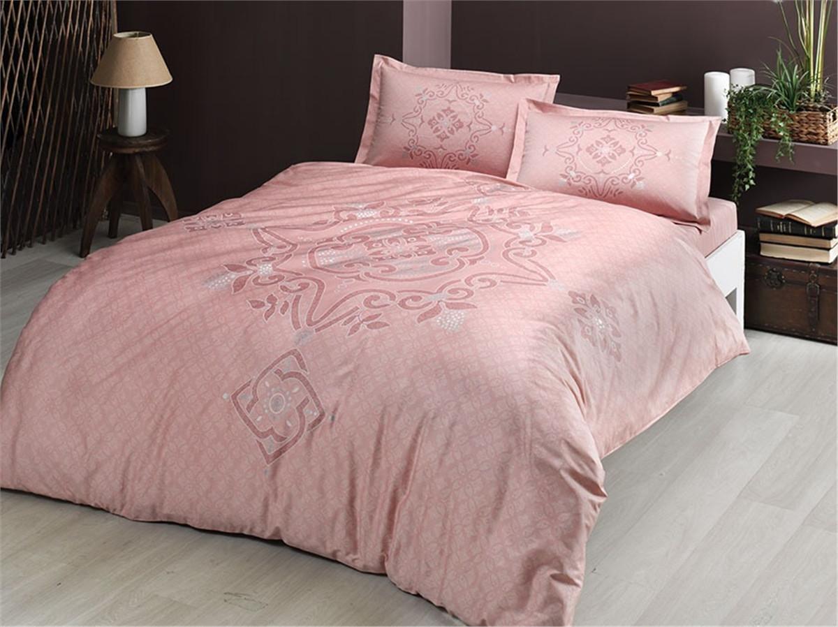 Постільна білизна сатин Tac євро Bruna рожевий
