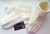 """Шикарные теплые шерстяные носочки на зиму """"Санта"""" ручной работы."""