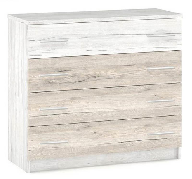 Комод 4Ш Ким Дуб кари белый + Сан-рено Мебель Сервис (102.8х40.1х91.2 см)