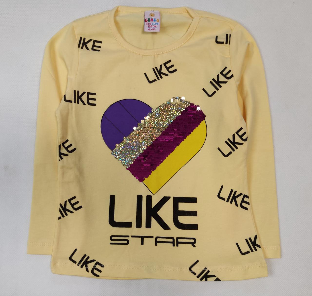 Детская кофта реглан хлопковый для девочки Likee желтая 4-5 лет