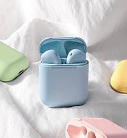 Беспроводные наушники Bluetooth сенсорные i12 голубые  блютуз аирподс Airpods
