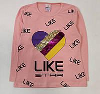 Детская кофта реглан хлопковый для девочки Likee розовая 6-7 лет