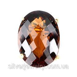 Серебряное кольцо с ЦИТРИНОМ МАДЕЙРА (натуральный), серебро 925 пр. Размер 15,5
