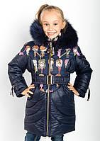 Зимнее пальто для девочек с подстежкой из овчины.
