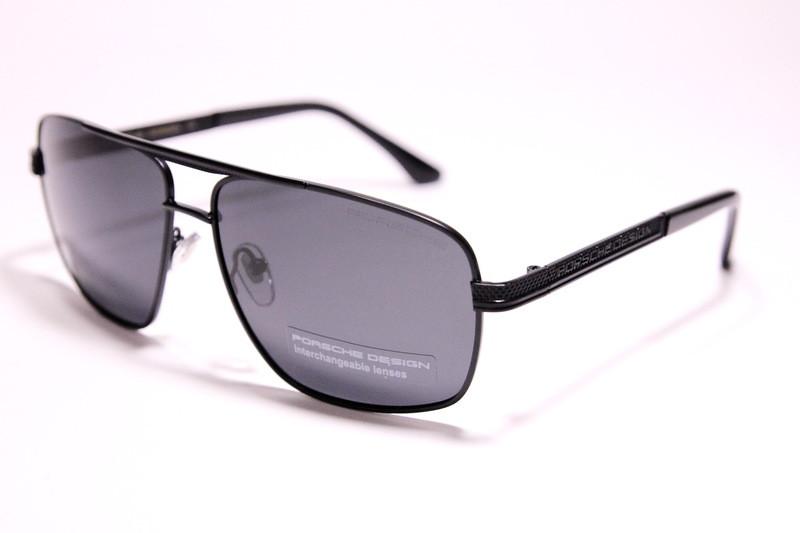 Солнцезащитные мужские очки в чёрном металле с поляризацией, PR