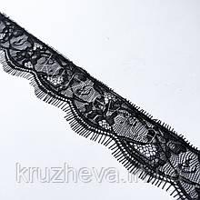 Ажурное французское кружево шантильи (с ресничками) черного цвета шириной 4,5 см, длина купона 3,0 м.