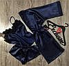 Набір темно-синій халат+майка+шорти-атласний комплект трійка