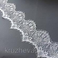 Ажурное французское кружево шантильи (с ресничками) белого цвета шириной 9 см, длина купона 3,0 м.