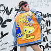 Женская джинсовая куртка Simplee Looney Tunes с патчами и пайетками голубая One Size