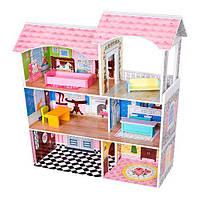 Деревянный домик для кукол Барби 2046 (3 этажа с мебелью)