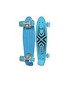 Пенни борд Penny Board (скейт) Абстракция со светящимися колесами