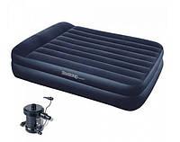 Матрас двуспальный надувной велюровый Bestway 67345 с электрическим насосом (203*163*48 см)