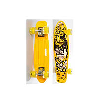 Пенни борд Penny Board (скейт) Желтый со светящимися колесами