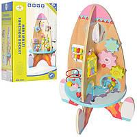 """Детская развивающая деревянная игрушка - бизиборд """"Ракета"""" (пальчиковый лабиринт)  23214"""