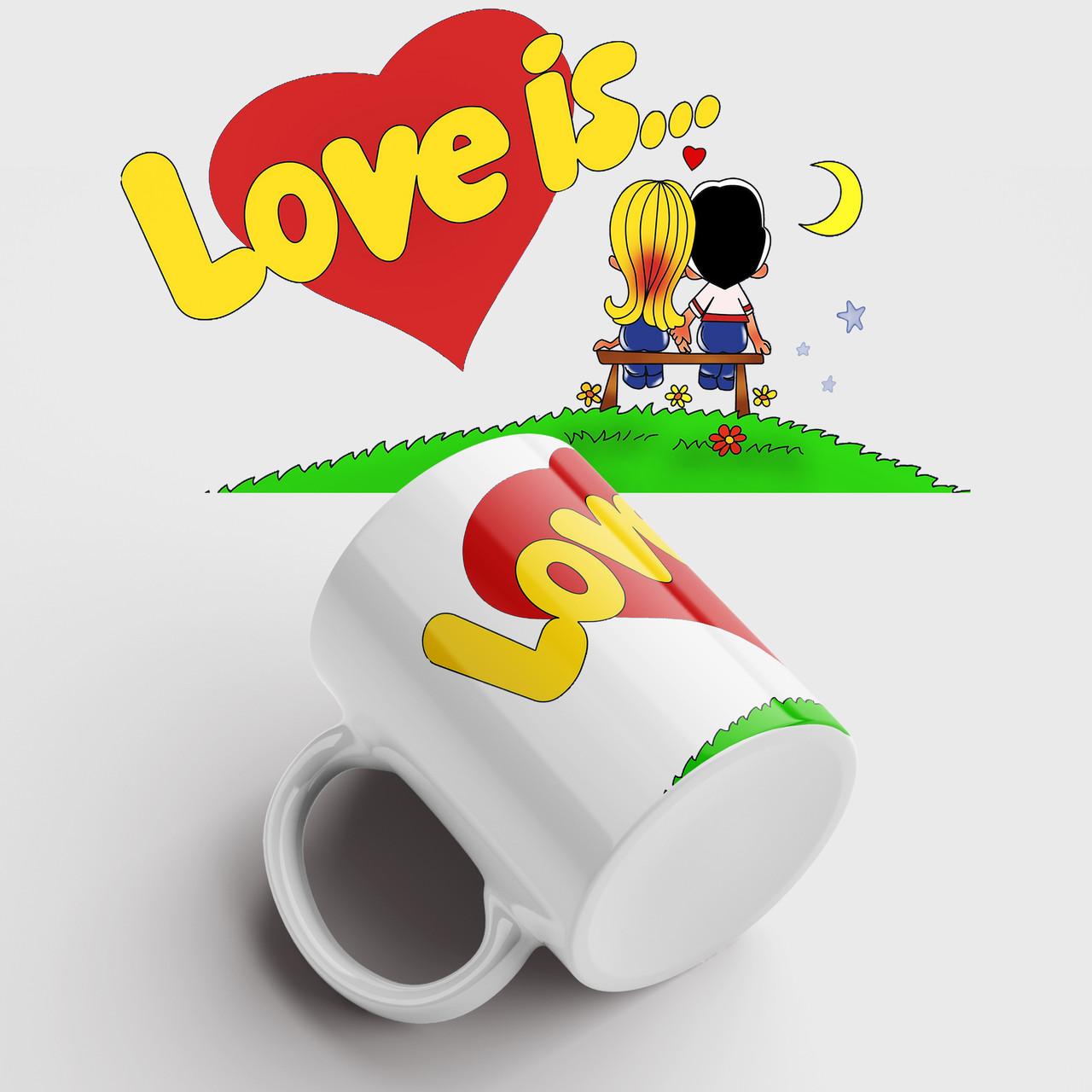 Чашка подарунок коханому / коханій Love is. Чашка з принтом Love is. Чашка з фото