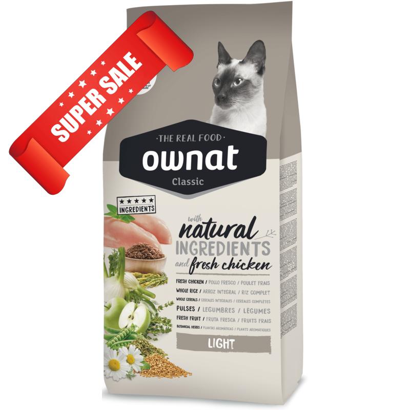 Сухой корм для кошек Ownat Classic Light 1,5 кг
