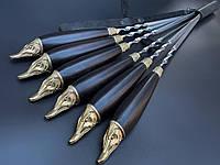 Шампура Щуки с деревянными ручками в кожаном колчане 6шт