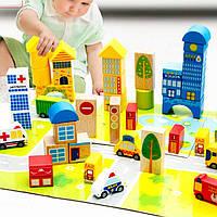 Деревянные строительные блоки город. Развивающая игрушка. Прекрасный подарок для ребенка
