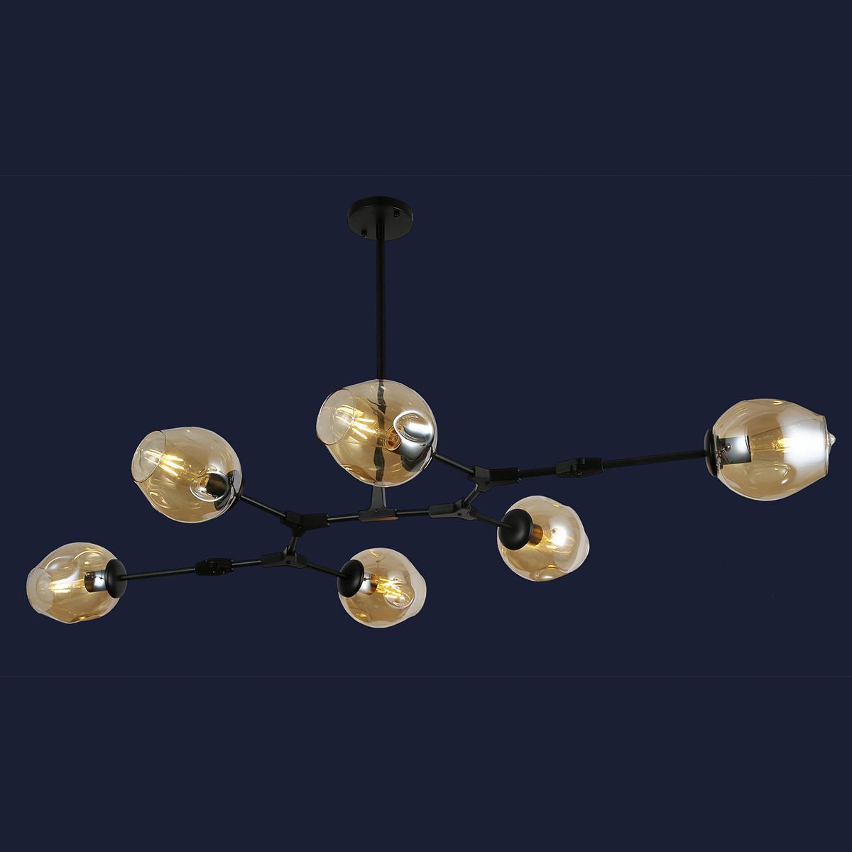 Люстра лофт молекула с стекляными плафонами цвет черный Levistella&752L7731-6 BK+BR