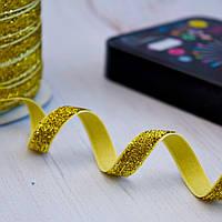 Лента бархатная с люрексом / цвет золотой / ширина 1 см / бобина 50 ярдов
