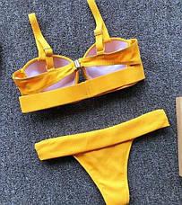 Купальник раздельный желтый  с чашкой и пуш-ап, фото 2
