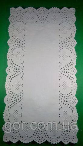 Ажурная прямоугольная салфетка 20*38(100шт) (1 пач) для декора бумажная кружевная белая сервировочная