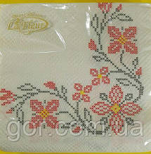 Дизайнерська серветка (ЗЗхЗЗ, 20шт) La Fleur Вишиті квіти (118) (1 пач.)