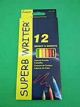 Олівці кольорові набір 12 кольорів marco 4100-12 CB superb writer( марко) (1 пач.)