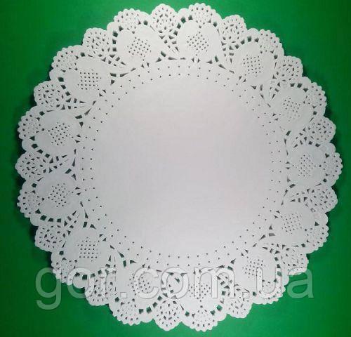 Салфетка ажурная Ф40.5 (100шт) (1 пач) для декора бумажная кружевная белая сервировочная круглая