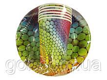"""Комплект одноразовой бумажной посуды №3/19 """"Радуга"""" (1 пач) ламинированный с рисунком для праздника"""
