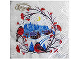 Дизайнерская салфетка (ЗЗхЗЗ, 20шт)  La FleurНГ Снегири 081 (1 пач), фото 5