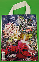 """Новорічний Пакет ламінований з петлевою ручкою маленький """"Счасливое Різдво"""" (50 шт)"""