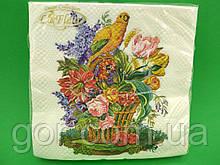 Серветка (ЗЗхЗЗ, 20шт) La Fleur Папугай в квіточках(1252) (1 пач.)