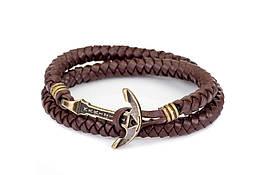 Кожаный браслет с Якорем ANTIQUE Lost Warrior Шоколадный mt1103, КОД: 215773