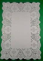 Ажурные прямоугольные салфетки 16*23(100шт) (1 пач) для декора бумажная кружевная белая сервировочная