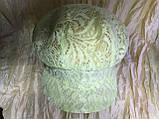 Гипюровая  кепка с хлястиком и пряжкой с камнями цвет жёлтый и белый, фото 3