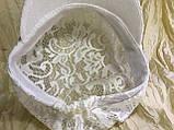 Гипюровая  кепка с хлястиком и пряжкой с камнями цвет жёлтый и белый, фото 8