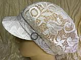 Гипюровая  кепка с хлястиком и пряжкой с камнями цвет жёлтый и белый, фото 6