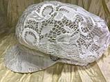 Гипюровая  кепка с хлястиком и пряжкой с камнями цвет жёлтый и белый, фото 7