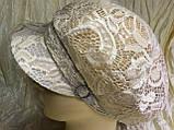 Гипюровая  кепка с хлястиком и пряжкой с камнями цвет жёлтый и белый, фото 5