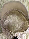 Гипюровая  кепка с хлястиком и пряжкой с камнями цвет жёлтый и белый, фото 9
