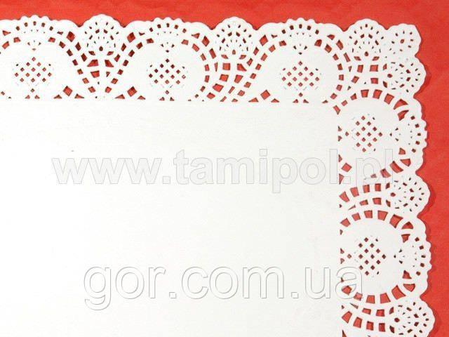 Салфетки ажурные  прямоугольные 30х40 (100шт) (1 пач) для декора бумажная кружевная белая сервировочная